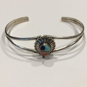 Sterling Silver and Multi-Stone Cuff Bracelet